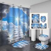 Durchbrechen Sie die Wolken Erlösung wasserdicht Bad Duschvorhang WC-Abdeckung Matte rutschfeste Bodenmatte Teppich Badezimmer-Set