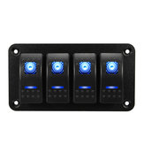 Universal 4 Gang LED Rocker Switch Panel Waterproof IP65 para 12V-24V RV Boat Yacht Marine