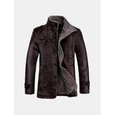 Men's Quality PU Leather Jacket Slim Fit  Plush Thick Warm Jacket Coat