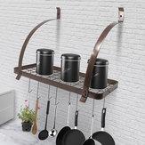 Bronz vas 8 horog serpenyőtartó polcos állvány Függesztett fürdőszoba fogas Konyhai szervező Többfelhasználós polcos csésze tál edény tároló állvány Lakberendezés