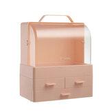 Armazenamento cosmético multifuncional de grande capacidade Caixa Desktop Maquiagem Organizador de armazenamento à prova de poeira Caso com alça de tampa e 3 gavetas