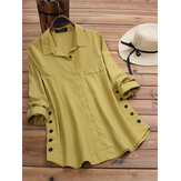 Vintage Lapel Button Long Sleeve Plus Size Shirts