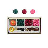 RosyPosy Vintage Lacquer Seal Wax Kit Seal Stamp Wooden Handle DIY Postcard Slogan Lacquer Sealing Tools Set Gifts