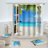 オーシャンブルーホワイトサンドビーチパームビュー夏プリント浴室洗面所装飾シャワーカーテン床敷物マット