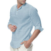 INCERUN Mens Cotton Button Neck Lässige Langarm Slim Fit Shirt T-Shirts