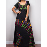 Mulheres manga curta Bohemia Printed Party Maxi dress