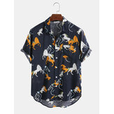 綿の漫画の動物の家のプリント半袖カジュアルシャツ