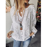 Casual Solid V Neck Loose Hollow Out Blouse