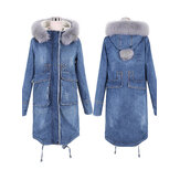 Casual Women Faux Fur Collar Double Pocket Thick Denim Coat