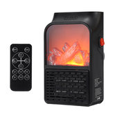 110V/220V Portable Electric Space Heater Fireplace Flame Fan Silent Mini Air Warmer Blower with Remote Control