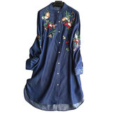 Original Women Embroidery Loose Turn-Down Collar Long Sleeve T-Shirts