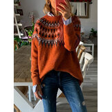 Women Casual Print O Neck Long Sleeve Sweaters