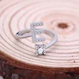 26 Letter White Gold White Rhinestone Adjustable Ring