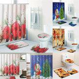 4Pcバスルームクリスマスシャワーカーテン台座ラグリッドトイレカバーバスマットセット