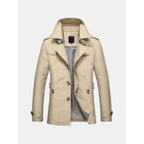 Mens Casual Single-breasted Trench Coat