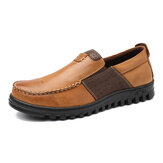 Original              Men Comfy Moccasin Toe Leather Splicing Soft Casual Shoes