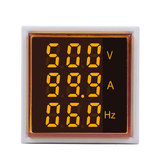 3pcs Geekcreit® 3 in 1 AC 60-500V 100A Square Yellow LED Digital Voltmeter Ammeter Hertz Meter Signal Lights Voltage Current Frequency Combo Meter Indicator Tester With Round CT