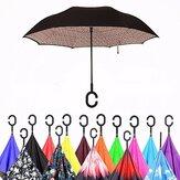 Double Layer Blossom Design Guarda-chuva invertido invertido à prova de ultravioleta em forma de C Guarda-sol à prova de vento para homens e mulheres