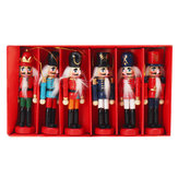 6pcs 12cm Wooden Nutcracker Doll Soldier Christmas Ornaments Xmas Gifts Decorations