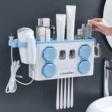 Portacepillos de dientes multifuncional Dispensador automático de pasta de dientes Cabello Estante de secado
