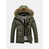 Mens Winter Thick Warm Down Jacket Furry Hood Padded Parka