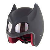 SOMAN Half Helmet Motorcycle Electric Bicycle Riding Safety Personality Bat Ear