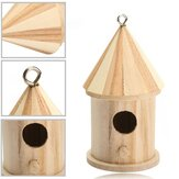 Wood Carving Wooden Birdhouse Bird Nest House Shed Garden Yard Hanging Decor 16 x