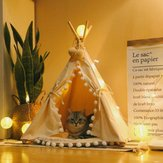 Dog Cat Pet Teepee White Tent Portable Washable Sweet House Kids Play Tents S/L