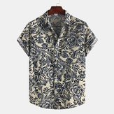 Men Printed Cotton Summer Casual Turn Down Collar Short