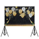 3 Sizes Happy Birthday Party Photography Prop Black Gold Balloon Photo Studio Backdrop