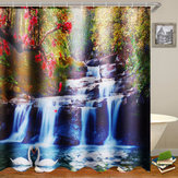 180x180cm Swans Flowers Cascade Waterproof Shower Curtain with 12pcs C-type Hooks Bathroom Set