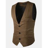 Erkek İnce Fit Katı Renkli Yelek Moda Üç Düğmeler İş Casual Vest 5 Renk