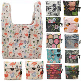 KCASA Flamingo Recycle Shopping Bag Eco Reusable Shopping Tote Bag Cartoon Floral Shoulder Folding Pouch Handbags Printing Kitchen Storage Tool