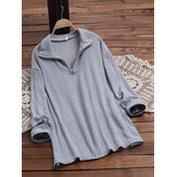 Pure Color Lapel Long Sleeve Causal Knit Sweaters
