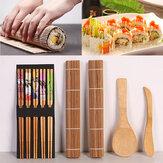 Kit de fabricação de sushi de bambu diy 2 tapetes de enrolar 5 pares de pauzinhos espalhador de arroz tapete de cozimento