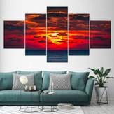 5PCS Pinturas de parede Home Bedroom Decor HD Art Sunset Spray de lona