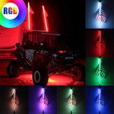3FT 0.9M RGB LED لمبة سوط 360 درجة لولبية مع US العلم و التحكم عن بعد لسيارات الدفع الرباعي ATV RZR UTV