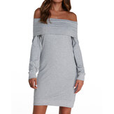 Women Off the Shoulder Long Sleeve Solid Casual Dress