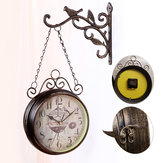 Double Sided Round Wall Mount Hanging Station Silent Clock Chic Vintage Retro Decorations