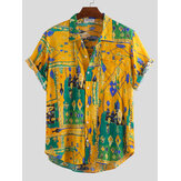 Mens Summer Graffiti Printing Chest Pocket Turn Down Collar Short Sleeve Loose Shirts