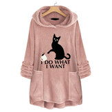 Cat Print Hooded Fleece Thicken Sweatshirt
