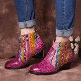 Kadın El Boyalı Rainbow Stripes Doku Ayak Bileği Botlar