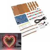 DIY 51 MCU 4 Heart-shaped LED Flash Electronic Kit With Music and Case