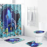 Ocean Sea Dolphin Swimming Decor Bath Shower Curtain Waterproof Non-Slip Rug Pedestal Rug Lid Toilet Cover Bath Mat Shower Curtains
