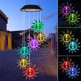 Solare LED Girasole Vento Campanellino Appeso Spinner Cambia colore chiaro lampada