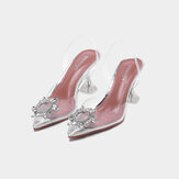 Women Rhinestone Transparent Fashion High Heels Pumps