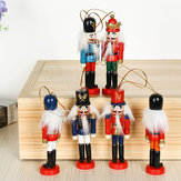 6Pcs 12cm Wooden Nutcracker Soldier Desktop Decorations Collections Birthday Gift for Friends