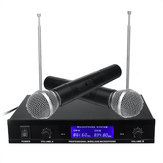 Professional Dual Handheld VHF Wireless Microphone System Cordless Karaoke Microphone Speaker with Battery for KTV Party