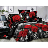 4PCS 3D Stereoscopic Rose Printed Bed Duvet Quilt Cover Pillowcase Bedding Sets