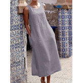 Solid Casual Long Maxi Sleeveless Cotton Dress